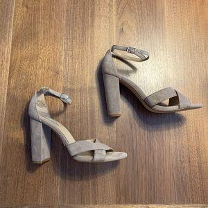 Suede block heels with straps